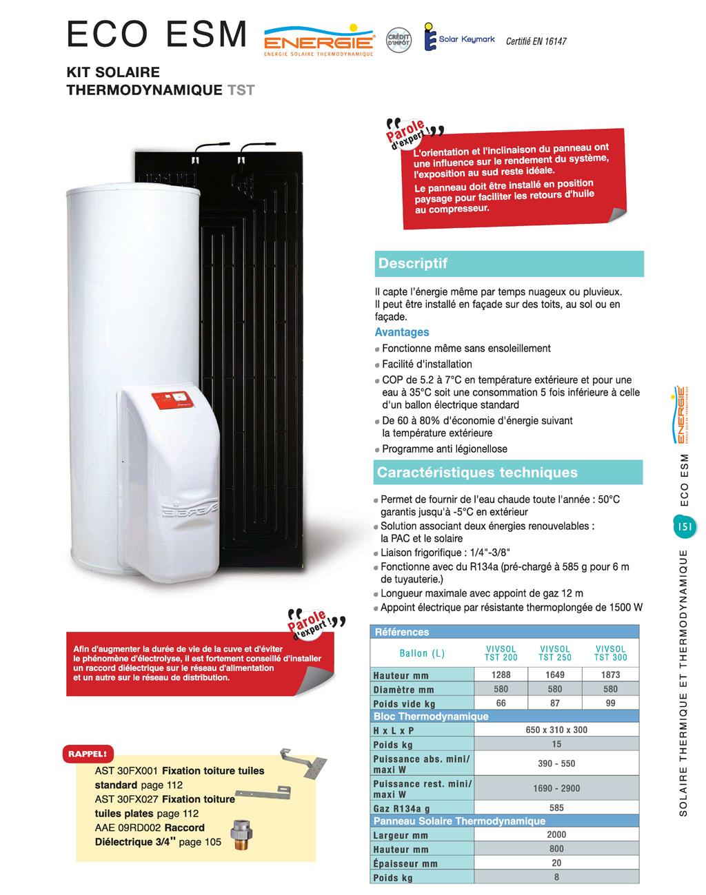 Energie solaire thermodynamique eco 250 energies naturels - Chauffe eau thermodynamique pas cher ...